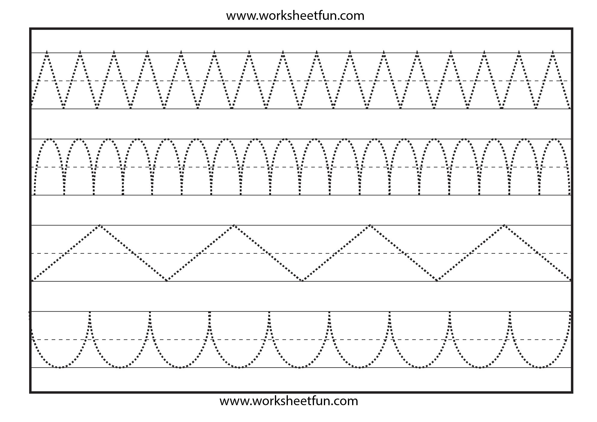 Line Tracing – 1 Worksheet | Shape Tracing Worksheets