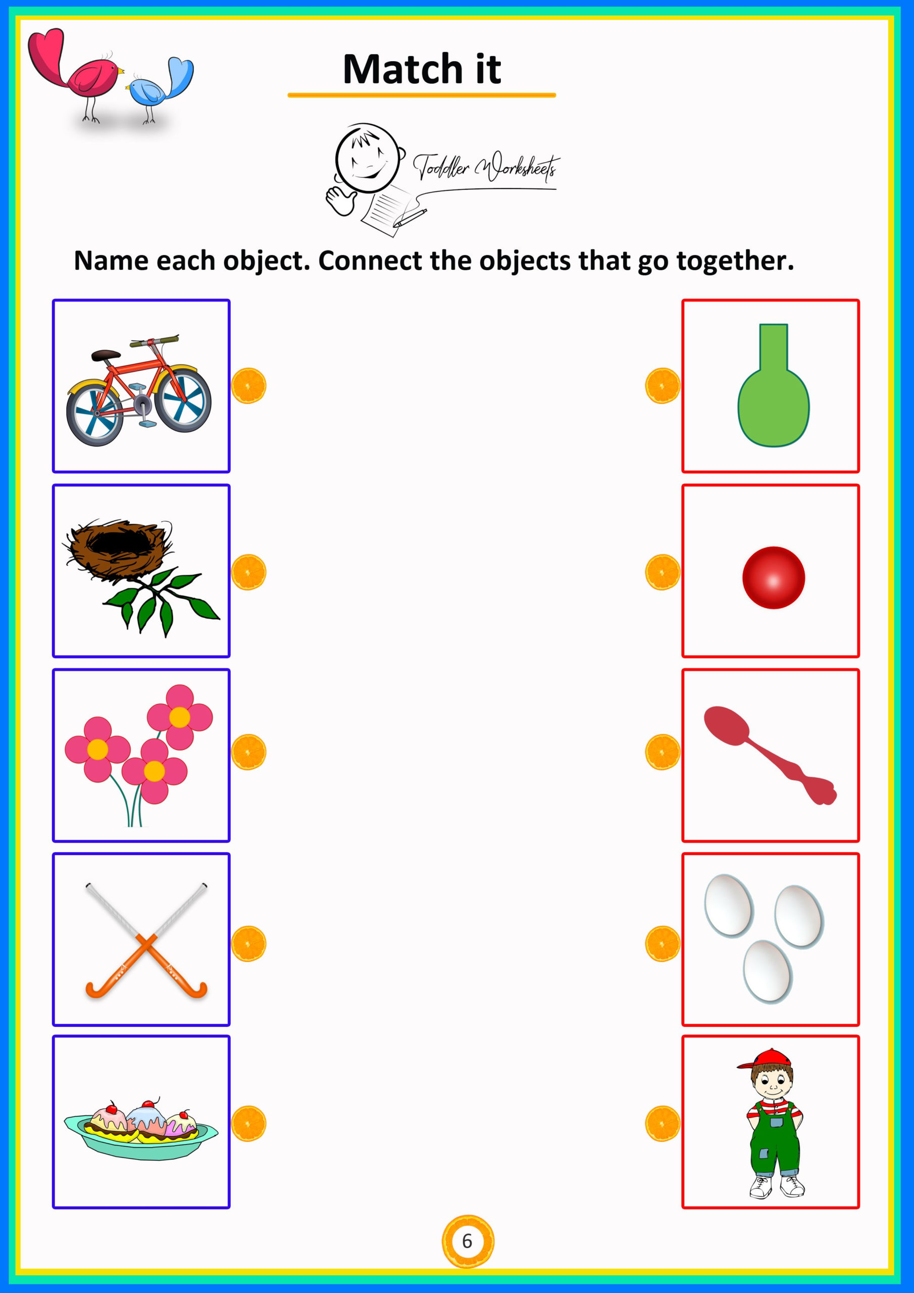 Match It 6 Objects Toddlers Worksheets | Preschool Math
