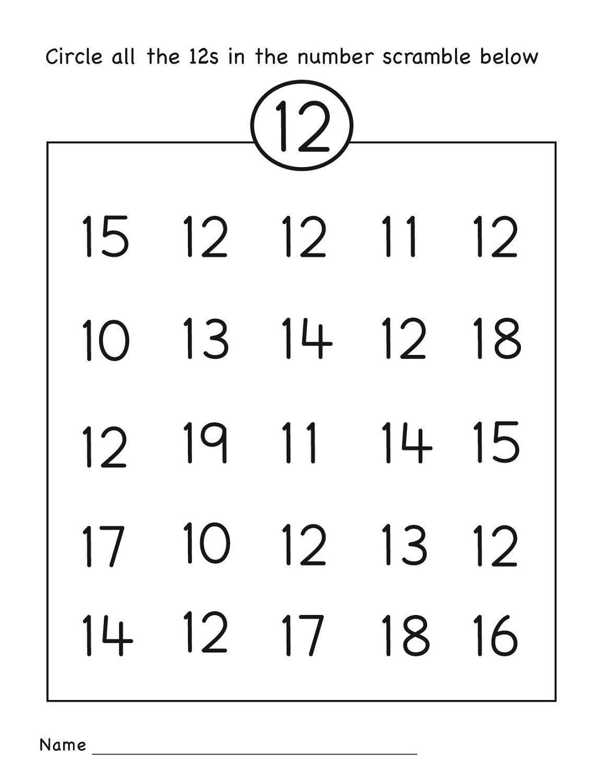 Number 12 Worksheets Easy | Numbers 11-20 | Preschool In