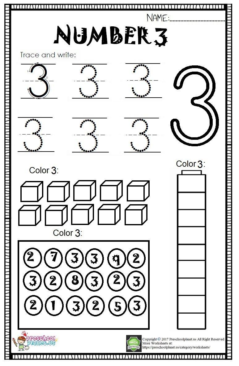 Number 3 Worksheet For Kids   Preschool Number Worksheets