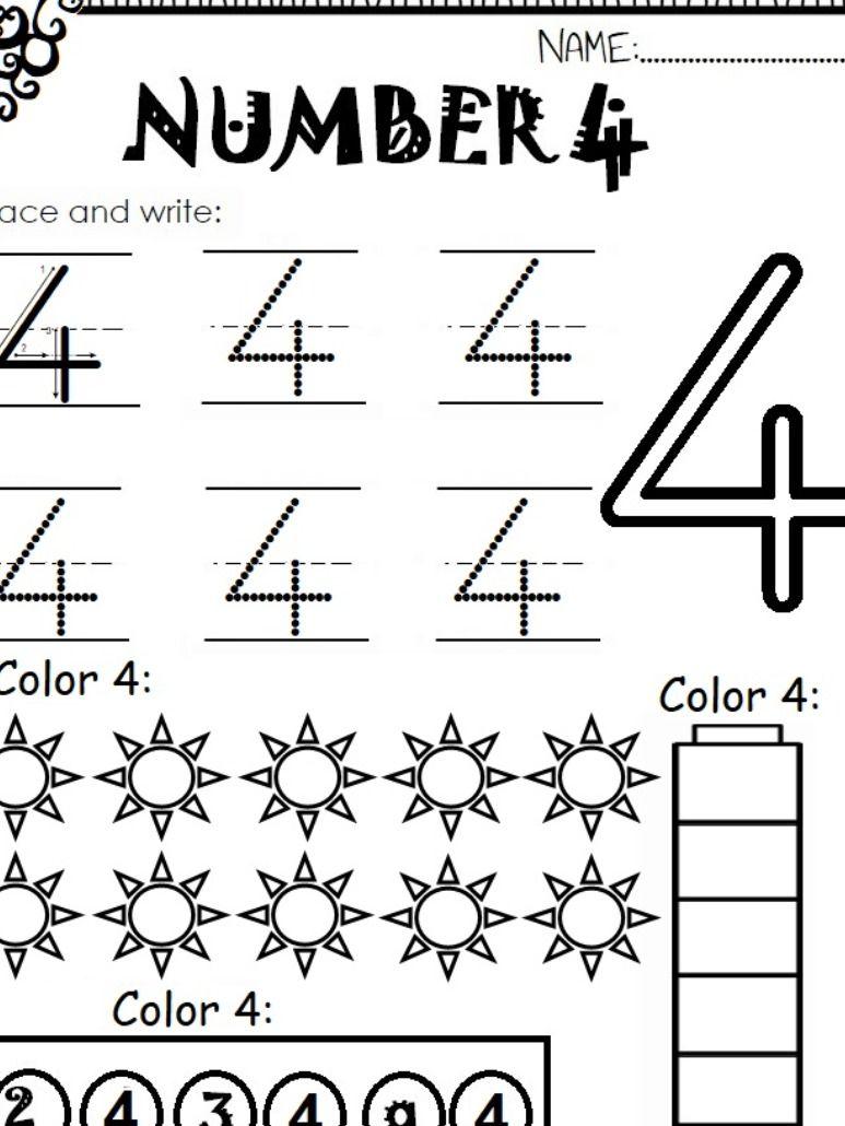 Number 4 Worksheet For Kids | Worksheets For Kids, Preschool
