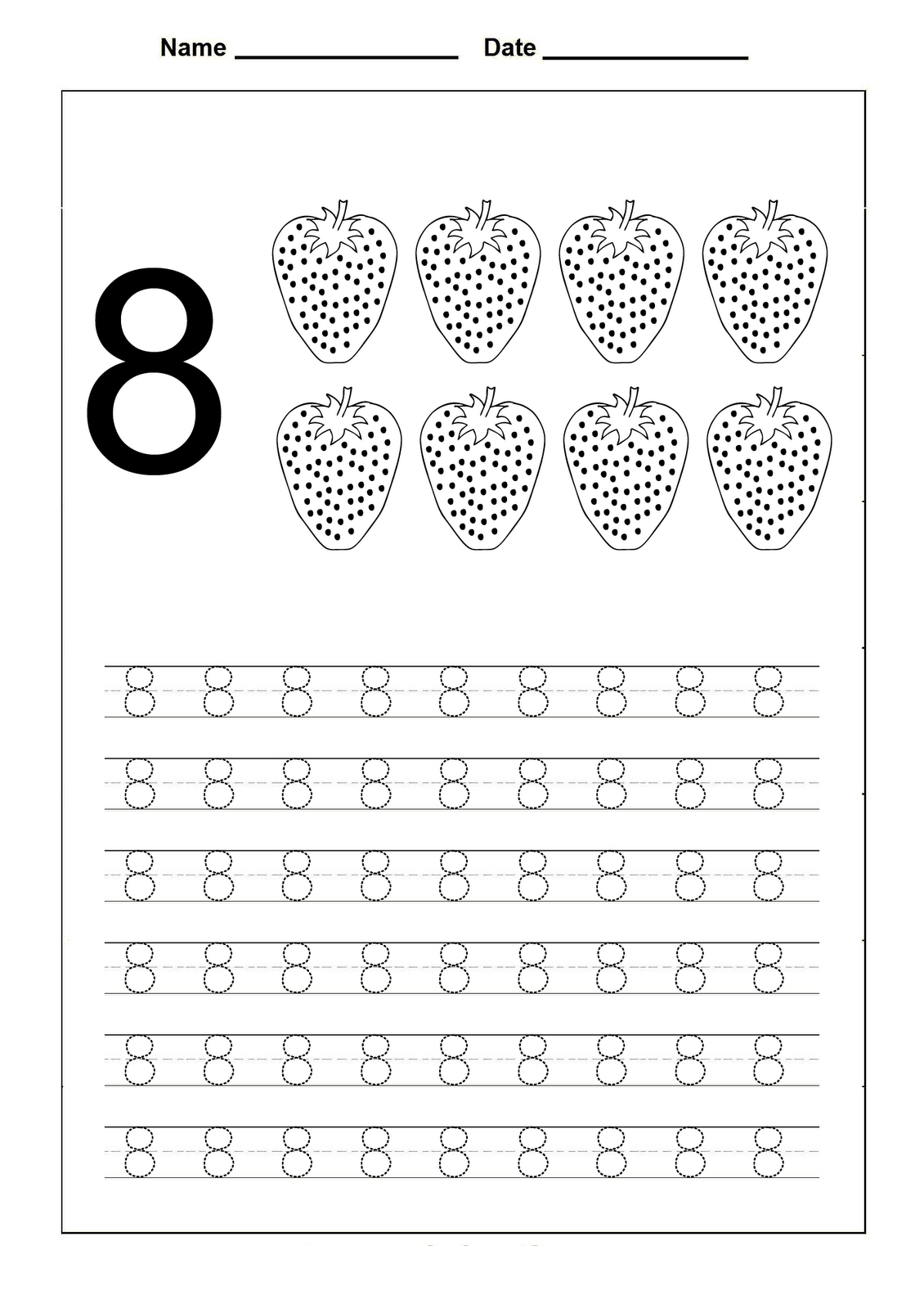 Number 8 Worksheets For Children | Preschool Worksheets