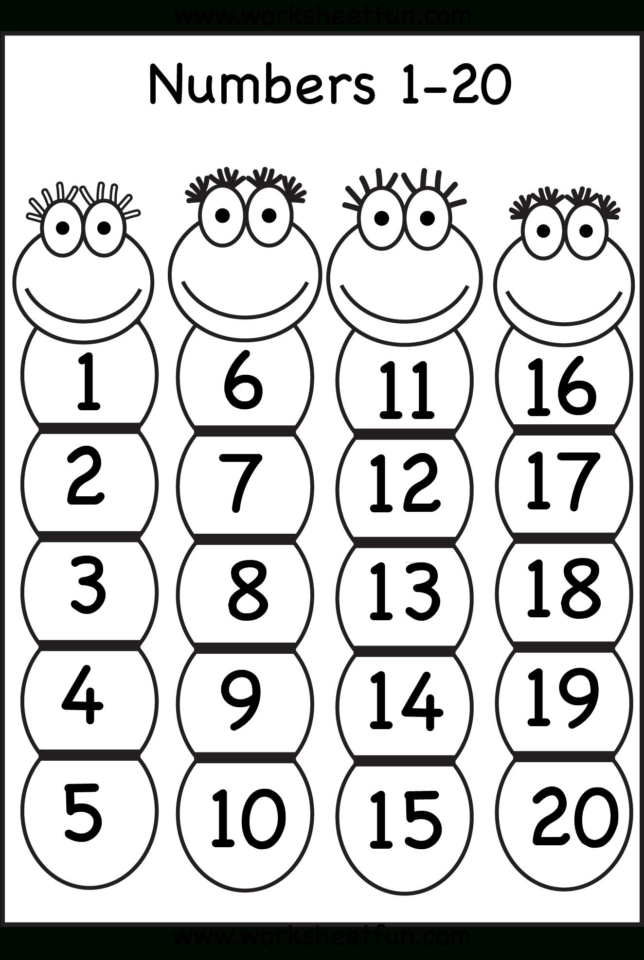 Number Chart 1-20   Numbers Preschool, Preschool Number