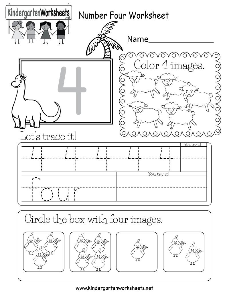 Number Four Worksheet - Free Kindergarten Math Worksheet For