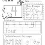Number Four Worksheet   Free Kindergarten Math Worksheet For