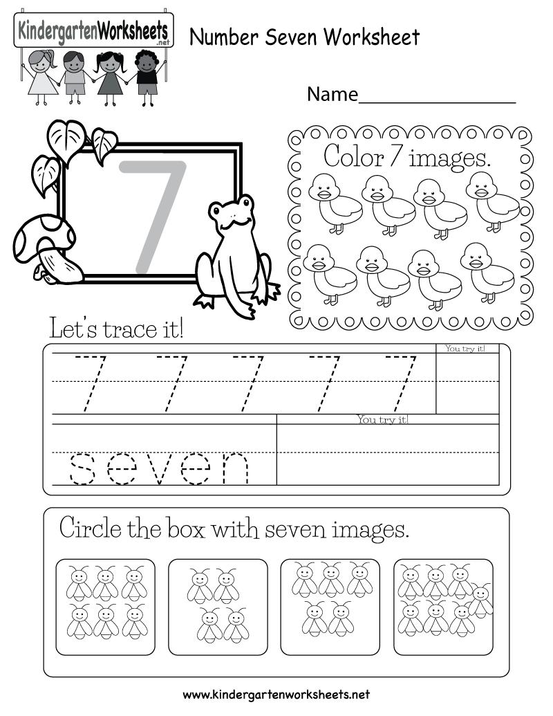 Number Seven Worksheet - Free Kindergarten Math Worksheet