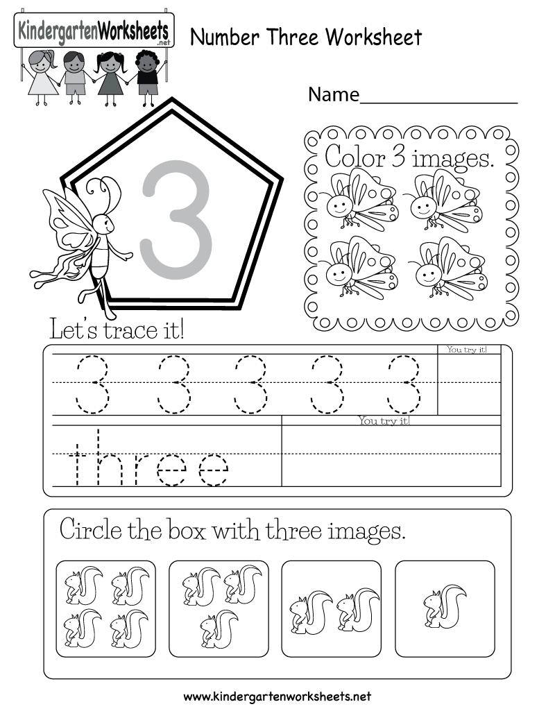 Number Three Worksheet - Free Kindergarten Math Worksheet