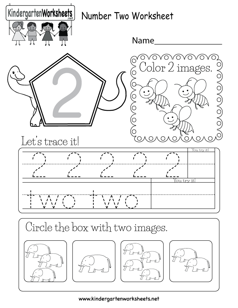 Number Two Worksheet Free Kindergarten Math For Kids