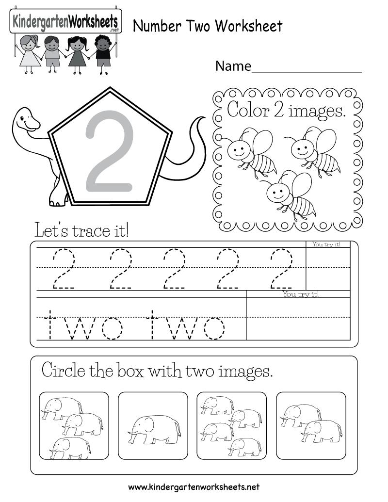 Number Two Worksheet - Free Kindergarten Math Worksheet For Kids