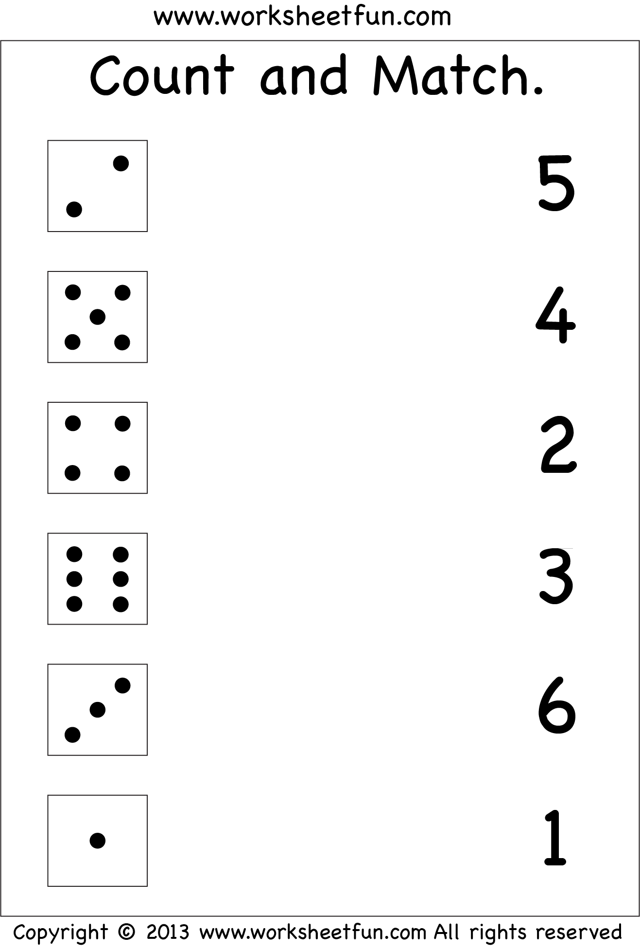 Numbers – Count And Match / Free Printable Worksheets