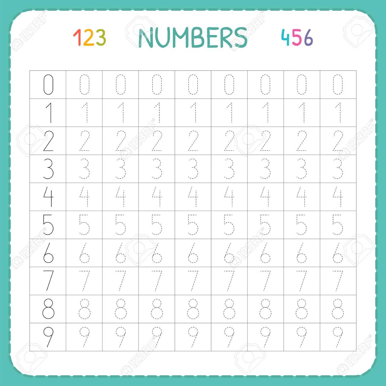 Numbers For Kids. Worksheet For Kindergarten And Preschool. Training..