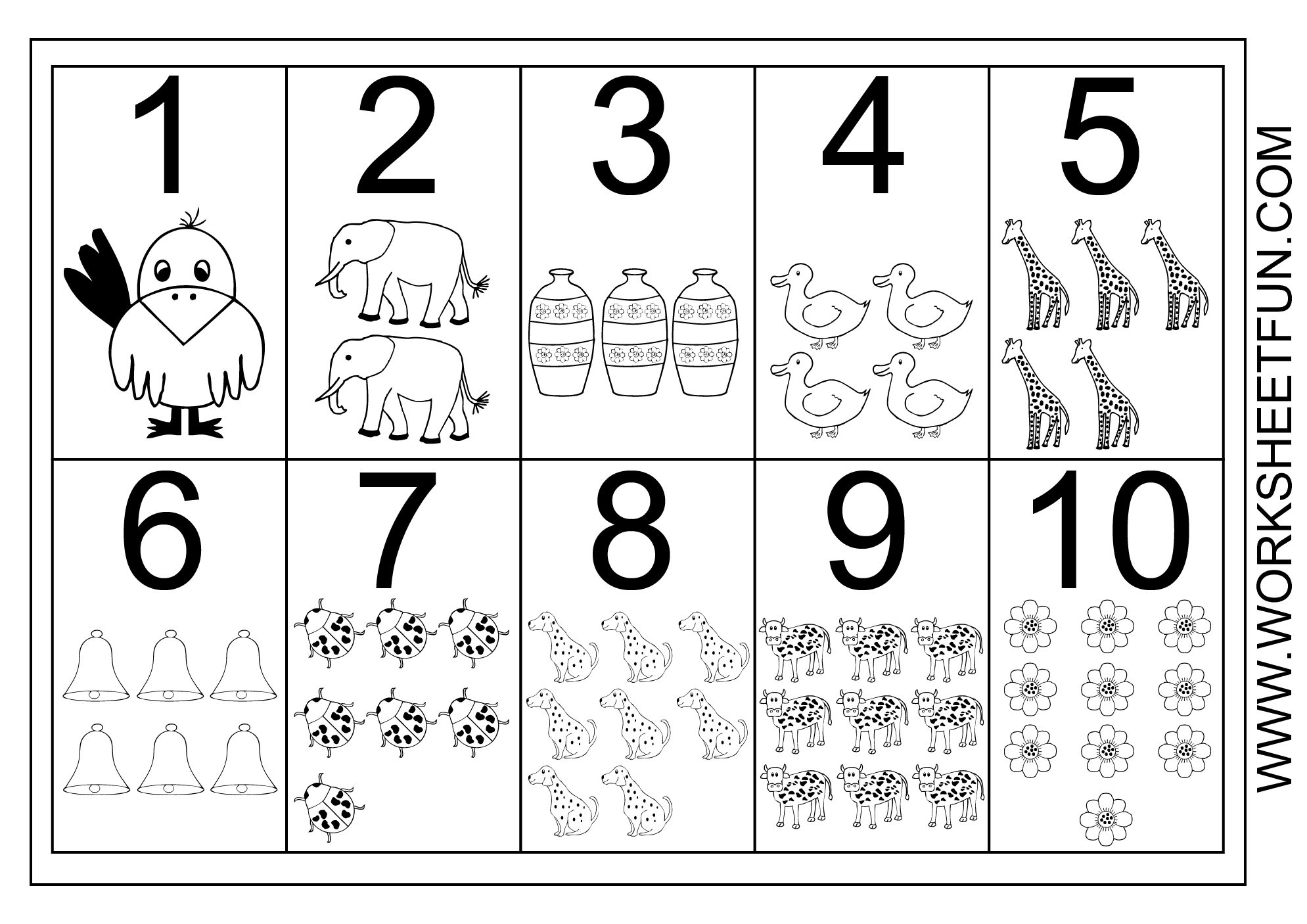 Picture Number Chart 1-10 | Numbers Preschool, Free