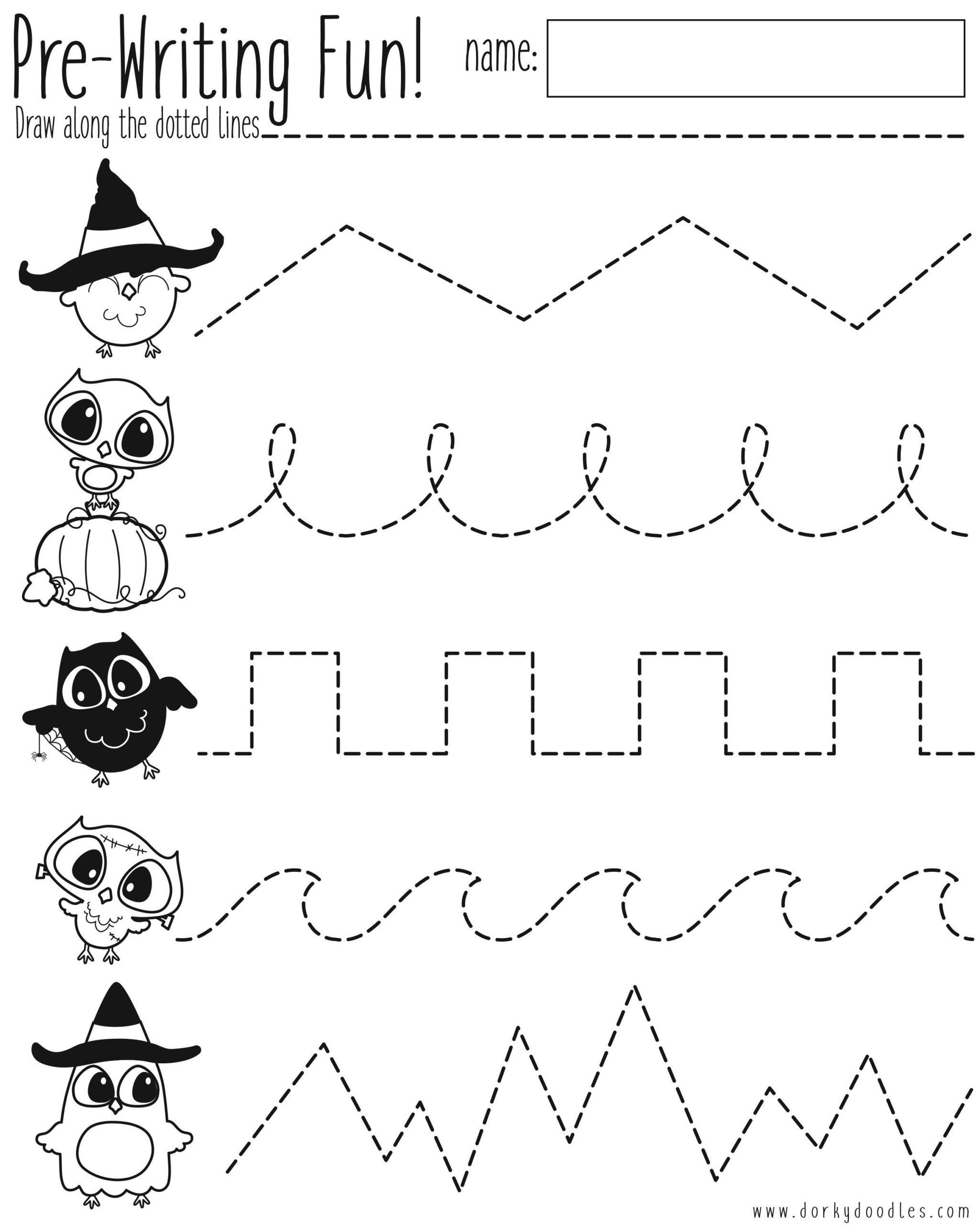 Pre-Writing Practice Halloween Worksheet – Dorky Doodles