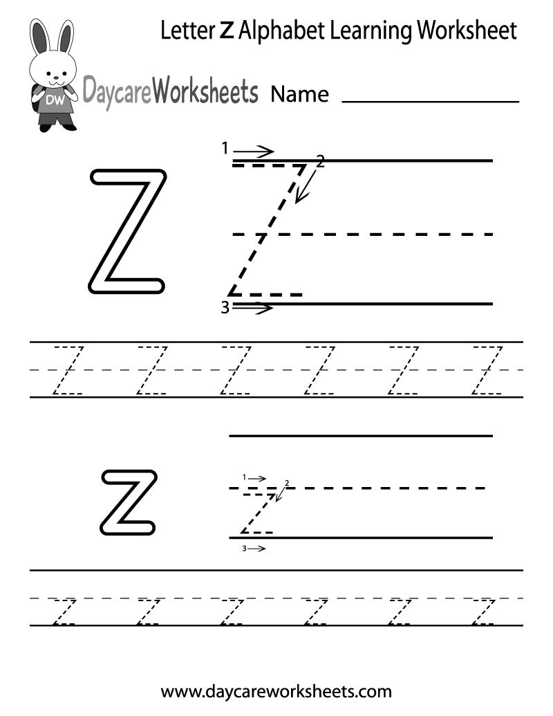 Preschool Letter Z Alphabet Learning Worksheet Printable
