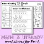 Preschool Math And Literacy Worksheets   Free Printables
