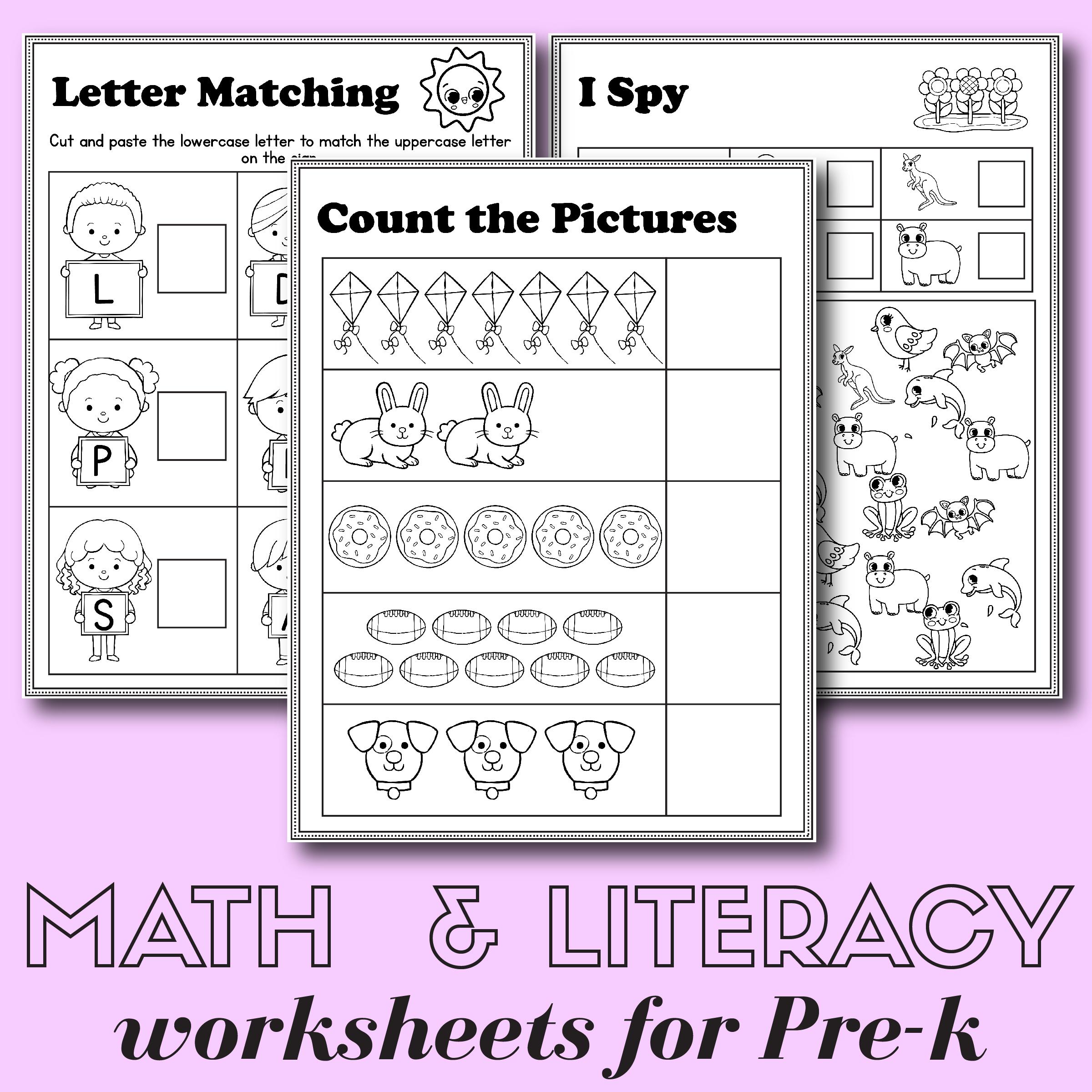Preschool Math And Literacy Worksheets - Free Printables