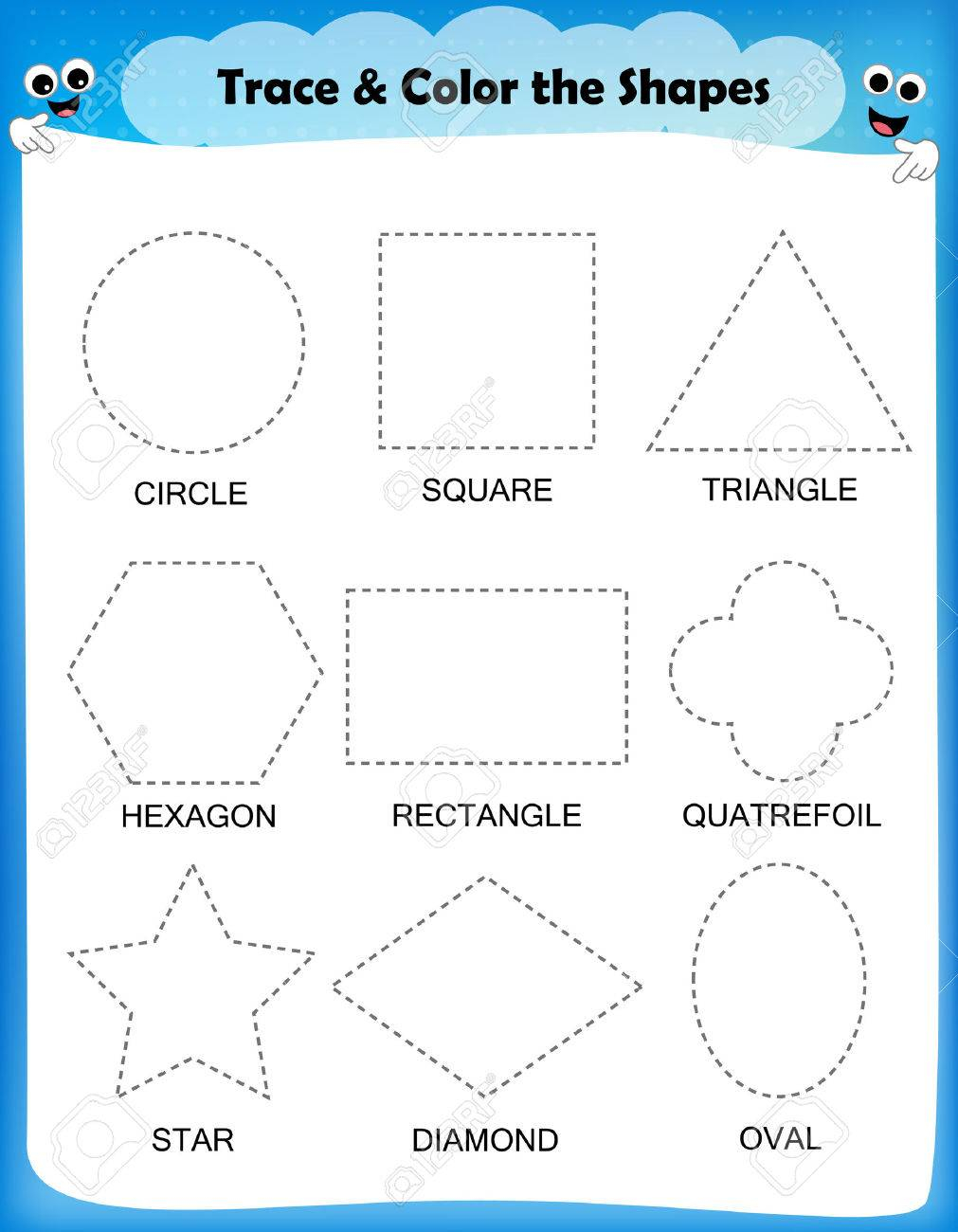 Preschool Worksheet Trace The Shapes And Color. Basic Writing..