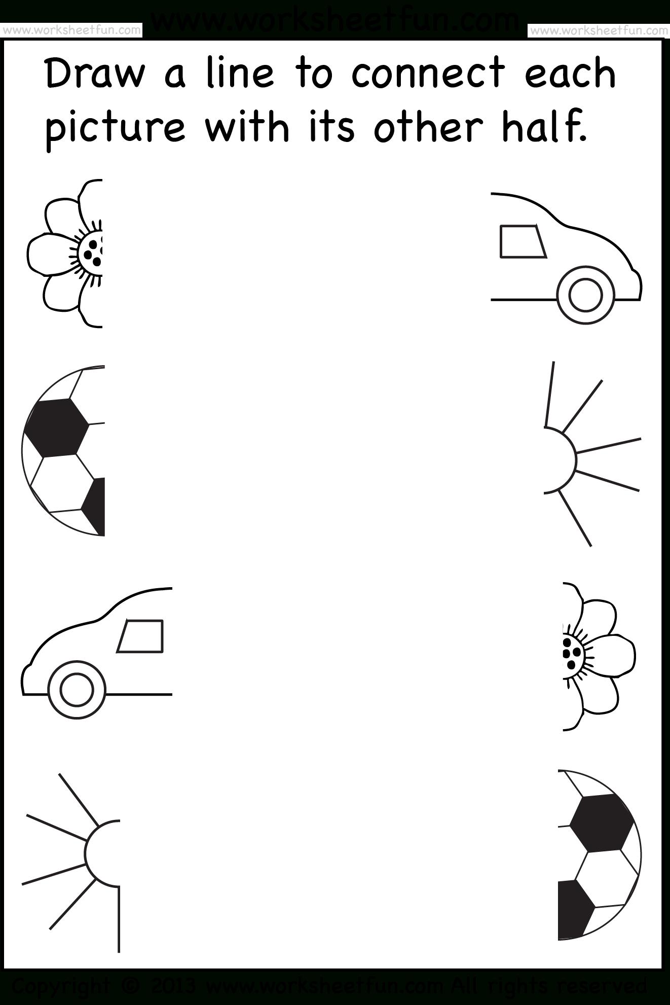Preschool Worksheets - Connect Pictures - 5 Worksheets