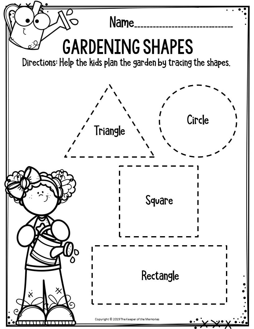 Preschool Worksheets Gardening Shapes - The Keeper Of The