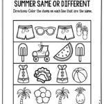 Preschool Worksheets Summer Same Or Different   The Keeper