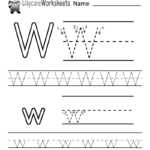 Preschoolers Can Color In The Letter W And Then Trace It