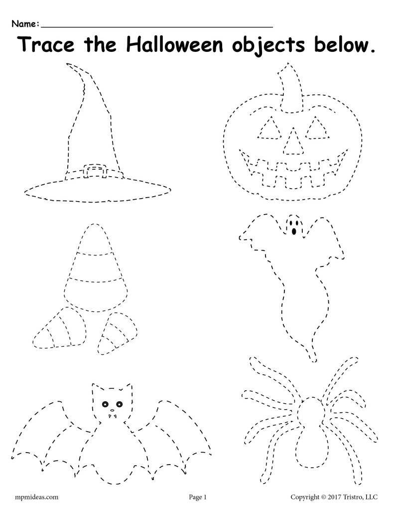Printable Halloween Tracing Worksheet! | Halloween Preschool