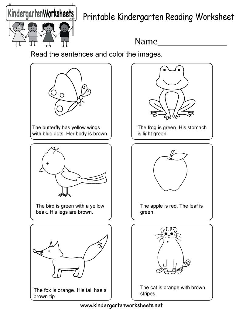 Printable Kindergarten Reading Worksheet - Free English