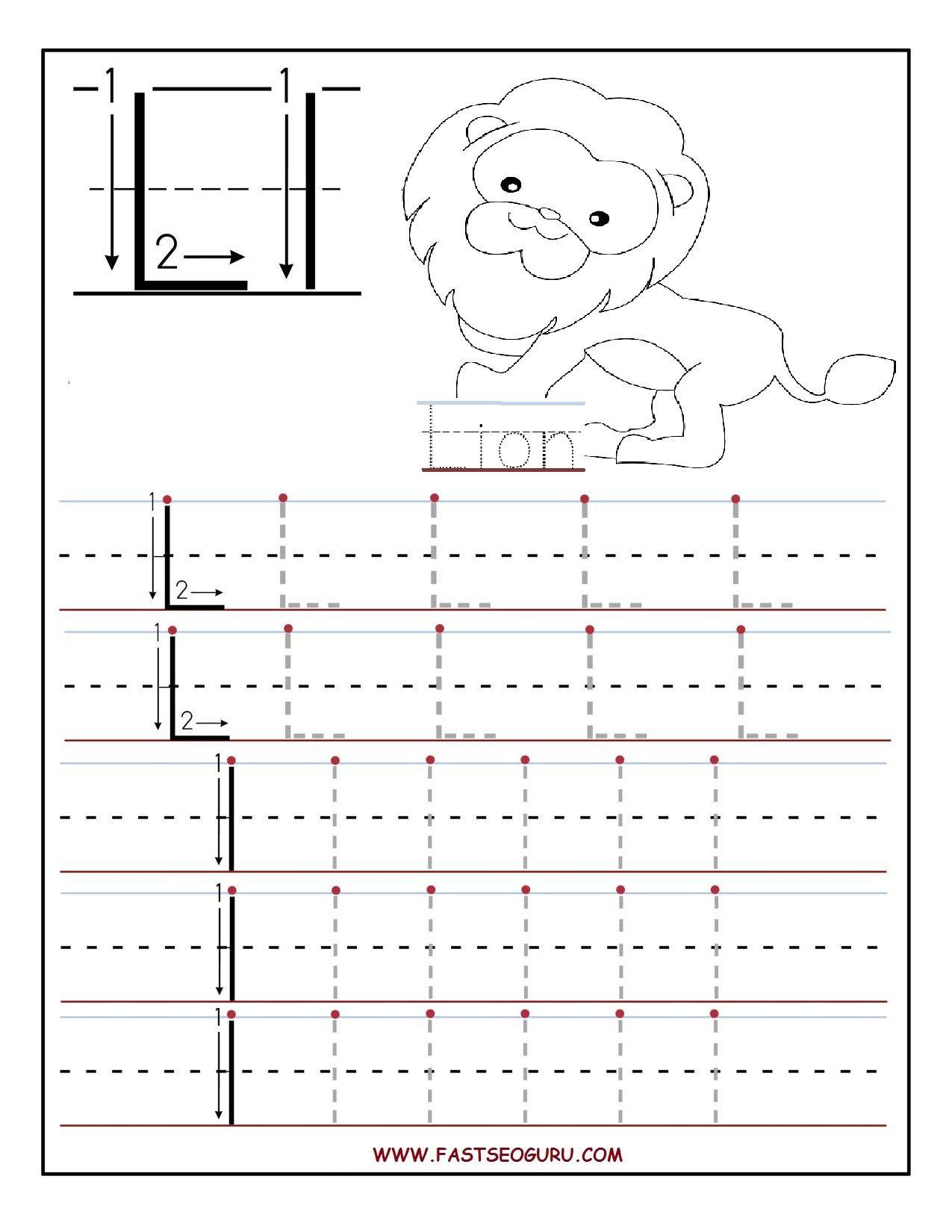 Printable Letter L Tracing Worksheets For Preschool