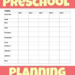 Printable Preschool Week Planning Sheet   More Excellent Me