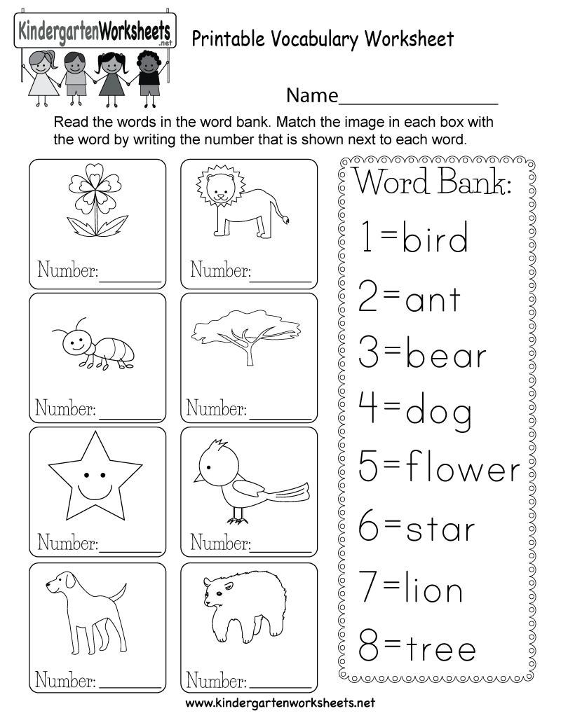 Printable Vocabulary Worksheet - Free Kindergarten English