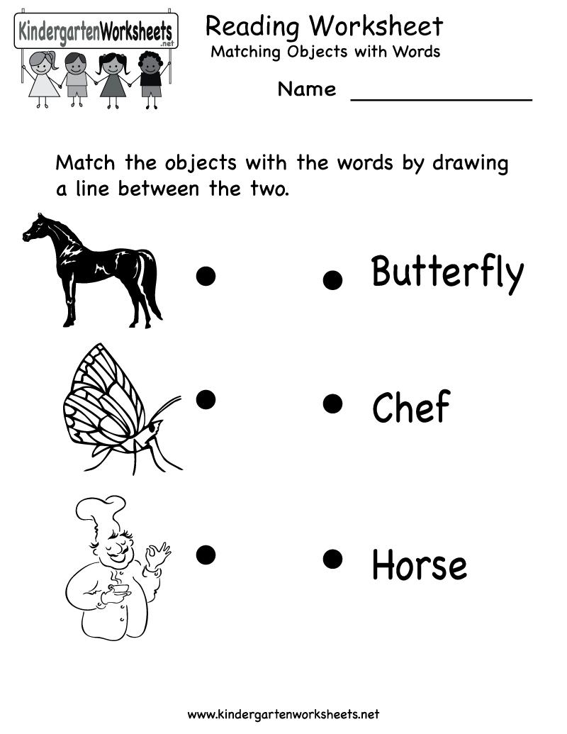Reading Worksheet - Free Kindergarten English Worksheet For