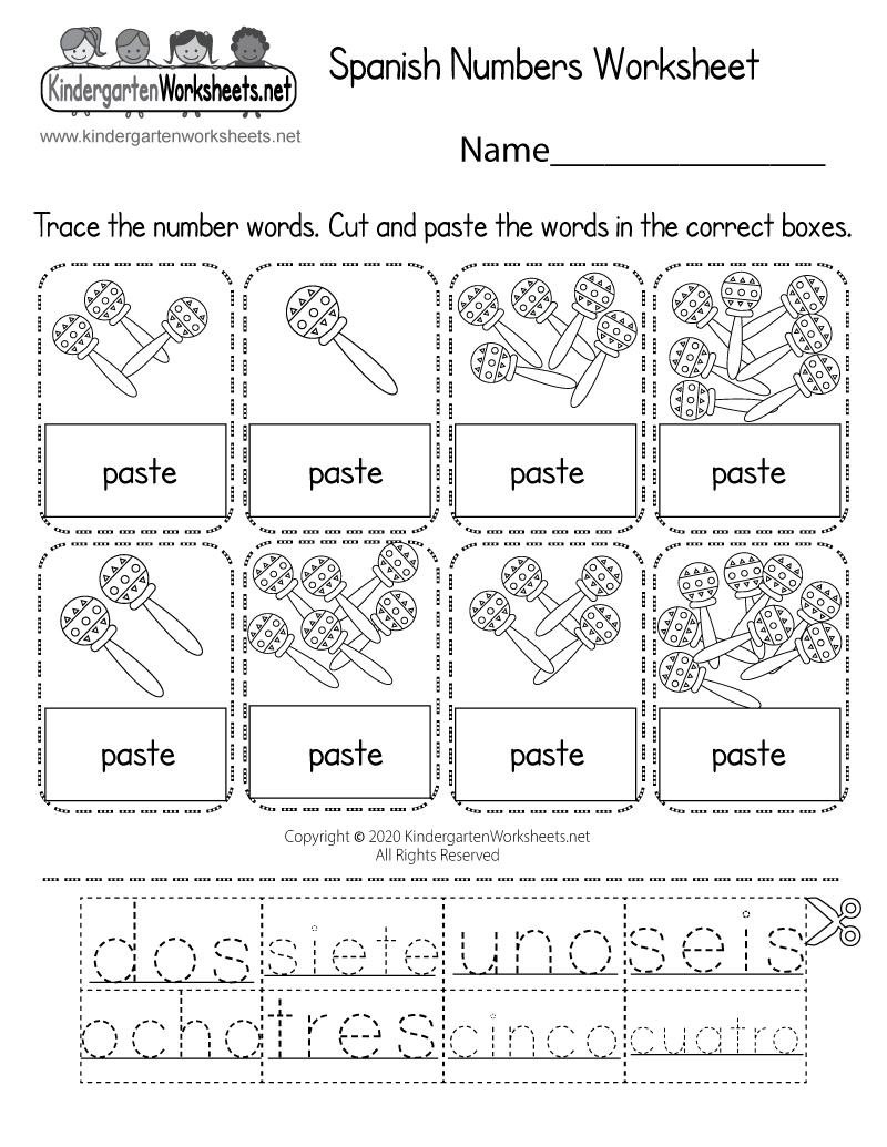 Spanish Numbers Worksheet For Kindergarten (Free Printable)