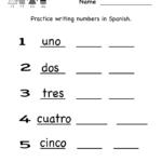 Spanish Worksheet   Free Kindergarten Learning Worksheet For