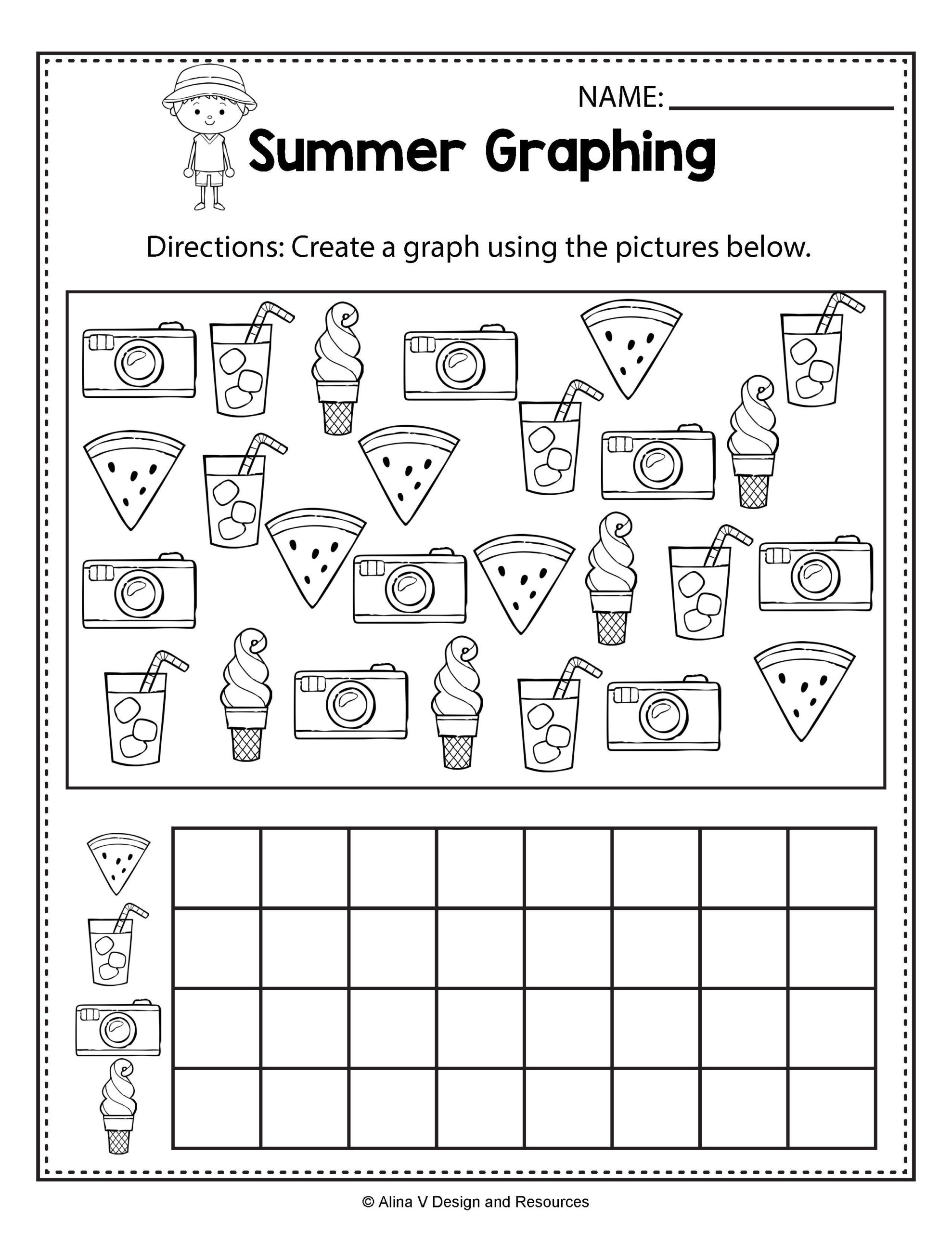 Summer Graphing - Summer Math Worksheets And Activities For