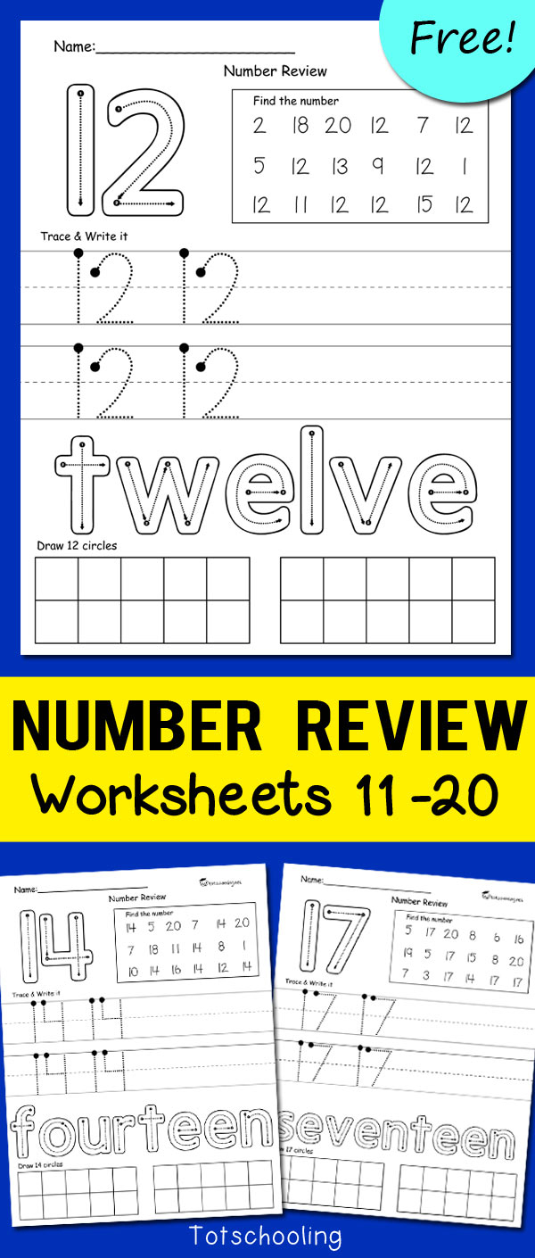 Teen Number Worksheets 11-20   Totschooling - Toddler