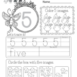 This Is A Number 5 Worksheet. Kids Can Trace The Number And