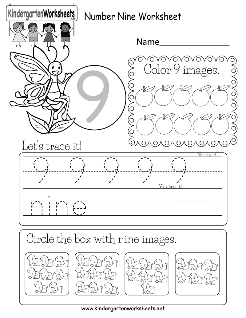 This Is A Number 9 Activity Worksheet. Children Can Trace