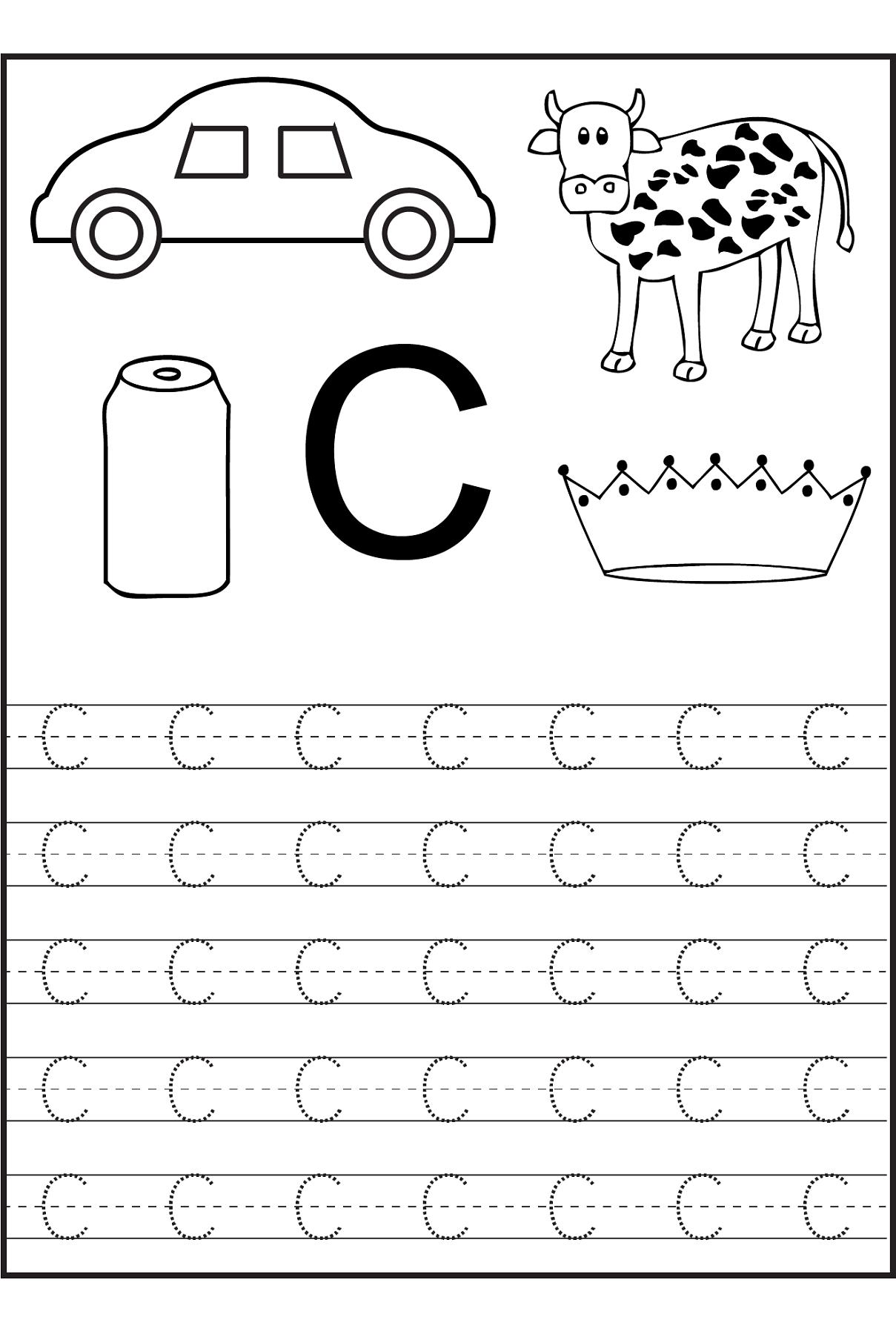 Trace The Letter C Worksheets | Free Preschool Worksheets