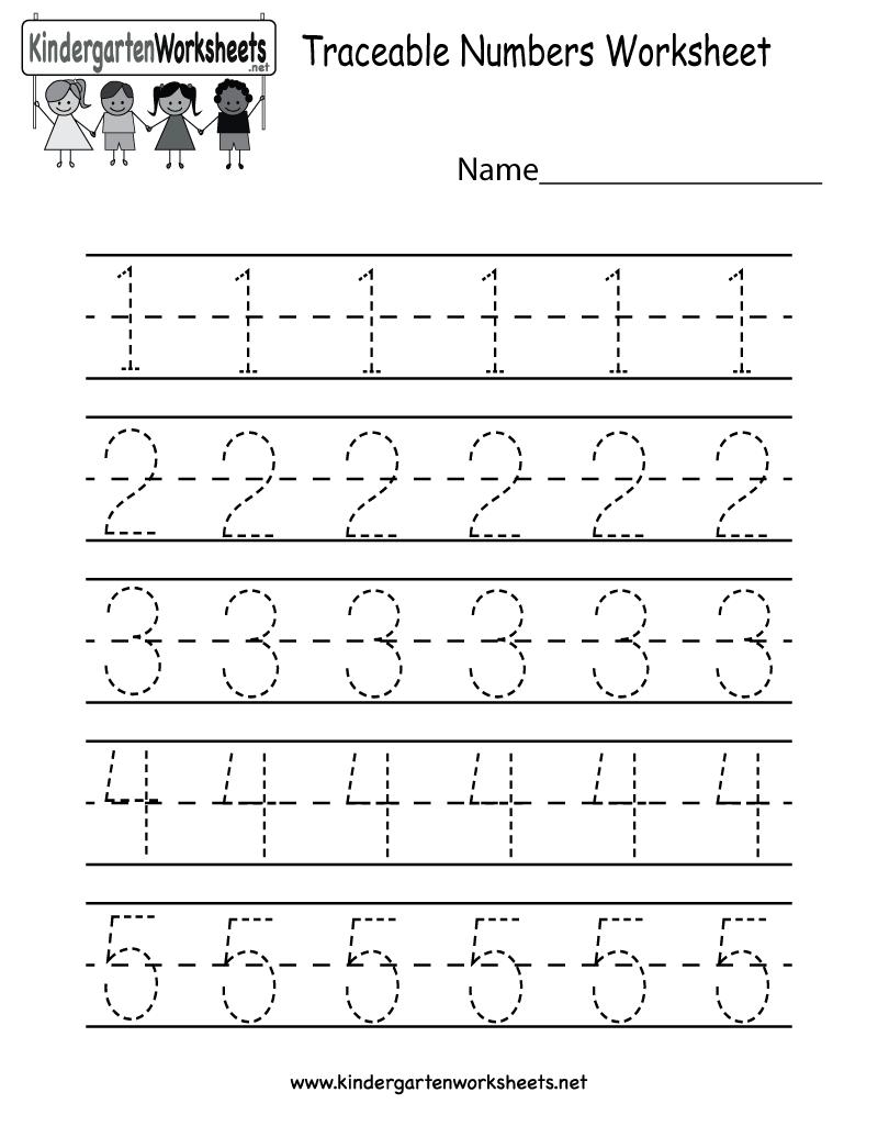 Traceable Numbers Worksheet - Free Kindergarten Math