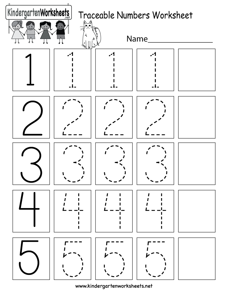 Traceable Numbers Worksheet Free Kindergarten Math For