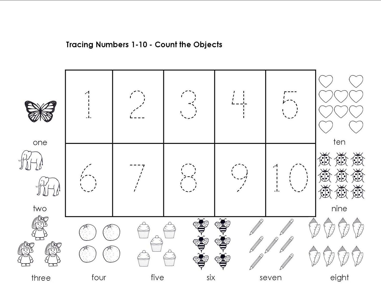 Tracing Numbers 1-10 Worksheets   Printable Preschool