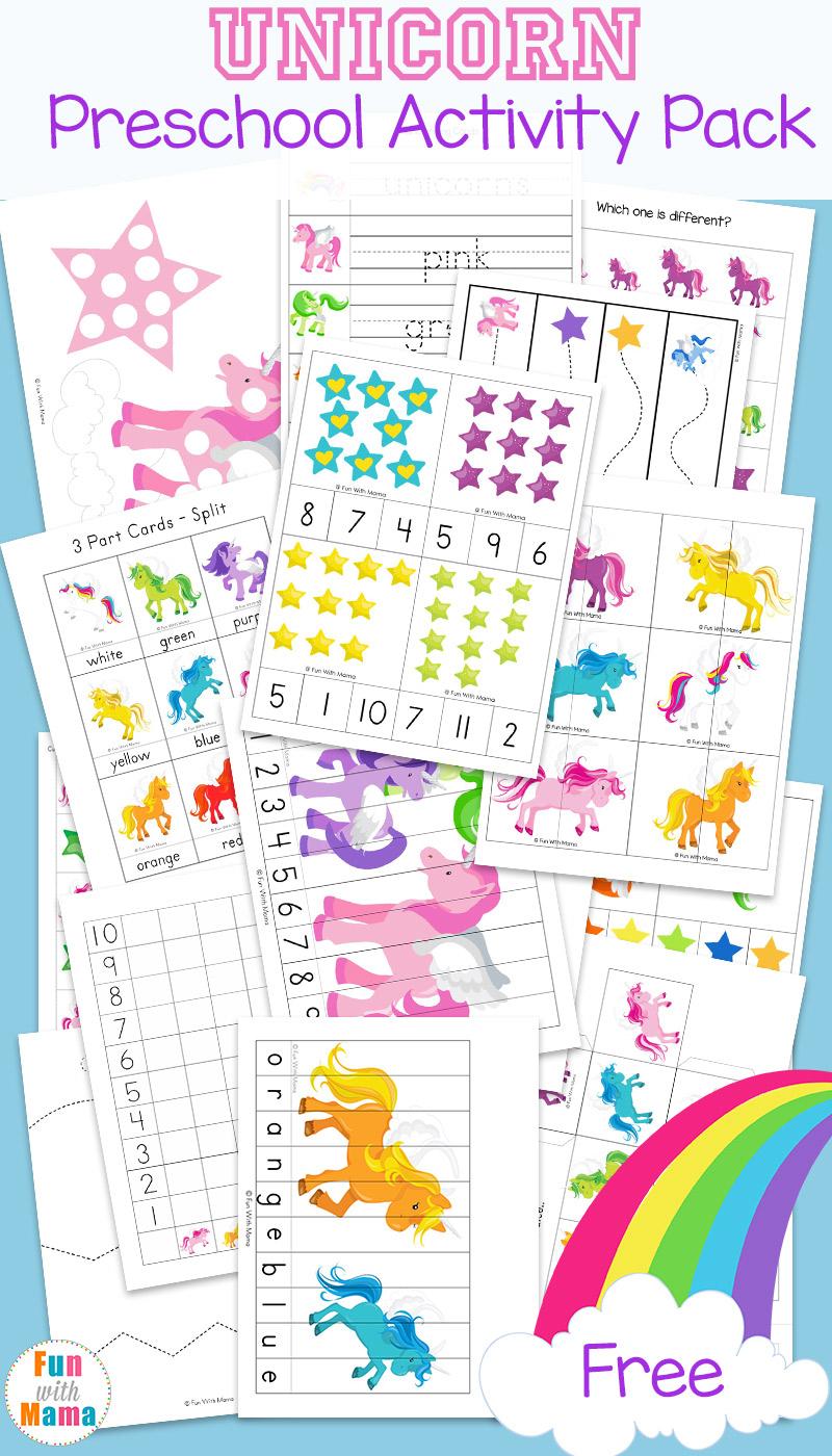 Unicorn Preschool Activity Pack - Fun With Mama