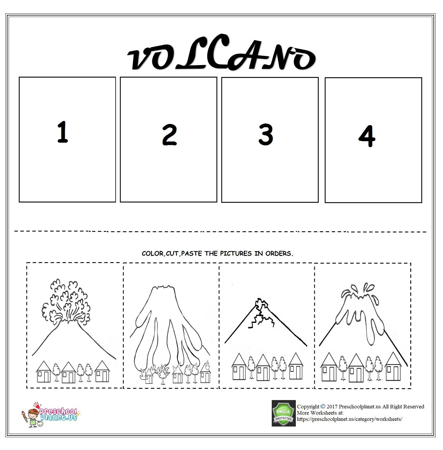 Volcano Sequencing Worksheet For Kids | Sequencing