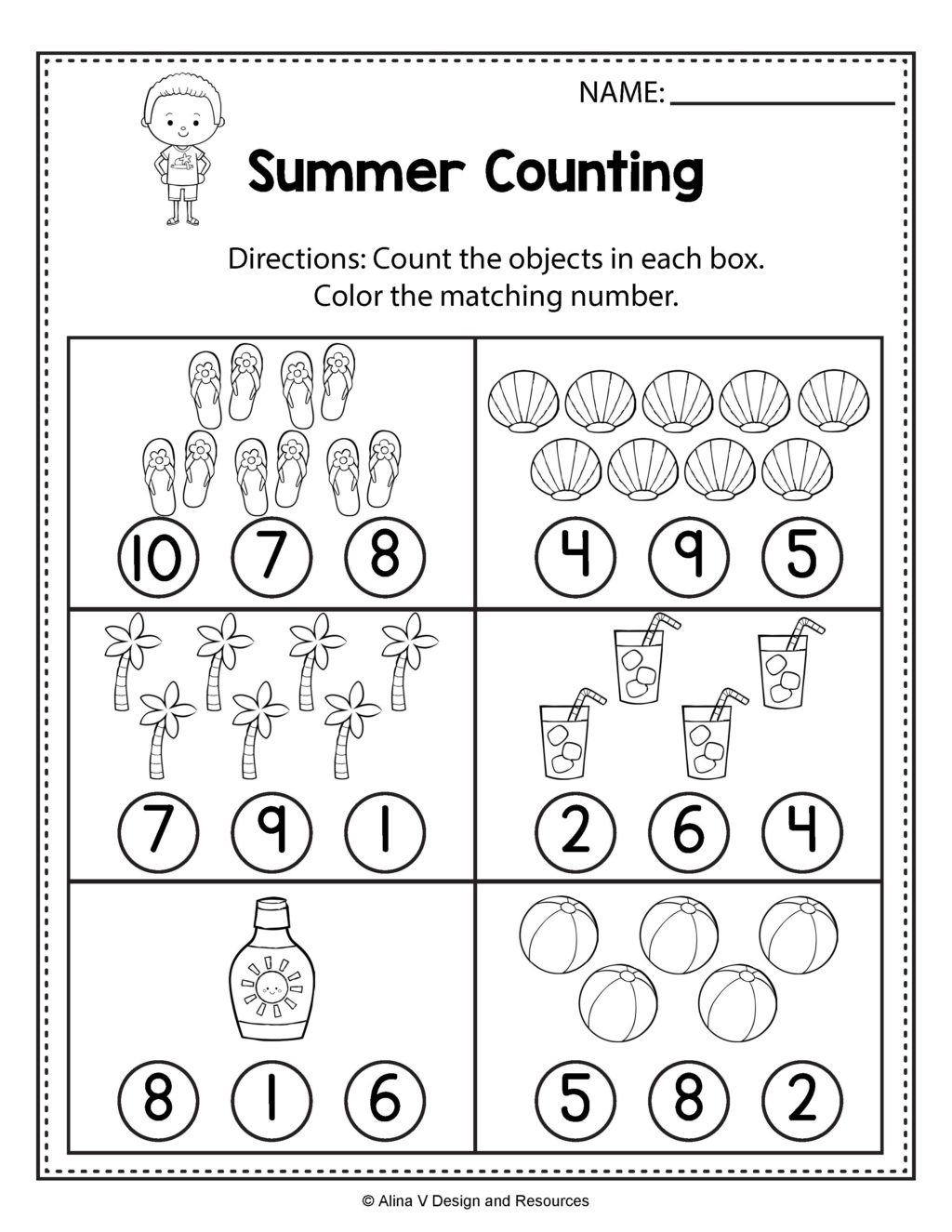 Worksheet ~ Countings For Preschool Summer Math And