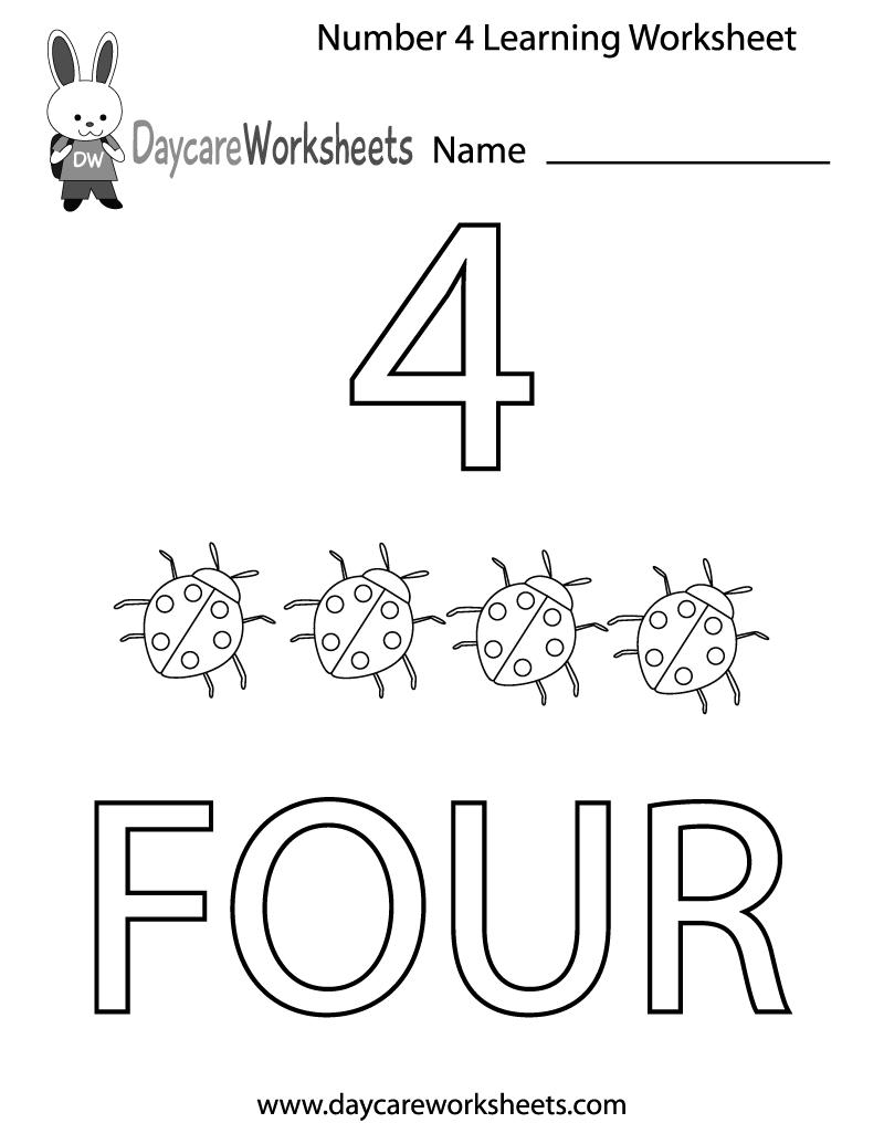 Worksheet ~ Free Preschool Number Four Learningt Printable