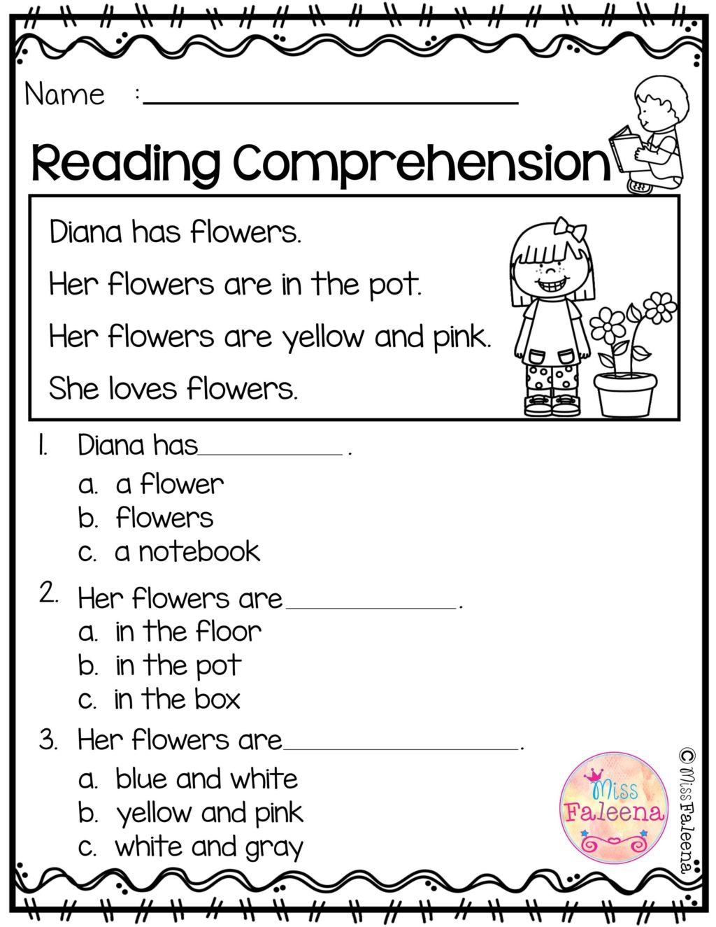 Worksheet ~ Free Reading Comprehension Worksheet
