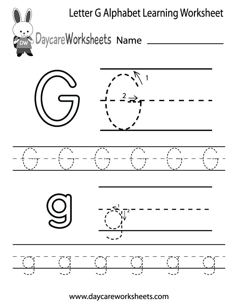 Worksheet ~ Letter G Alphabet Learning Worksheet Printable