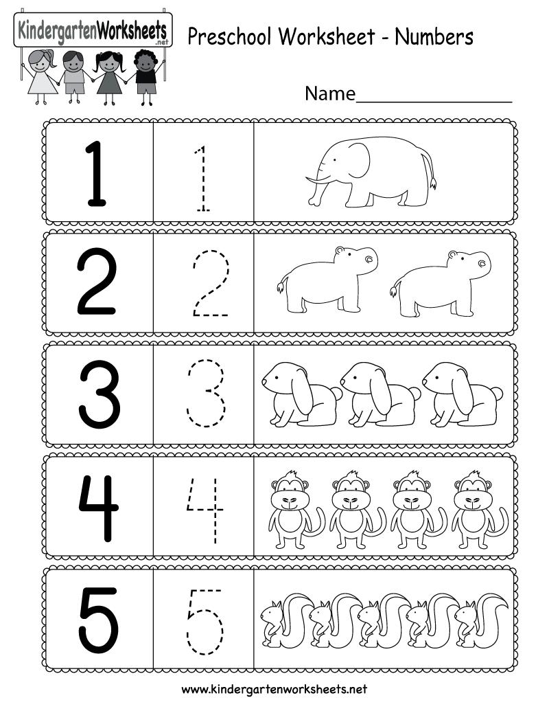 Worksheet ~ Preschool Worksheet Using Numbers Printable