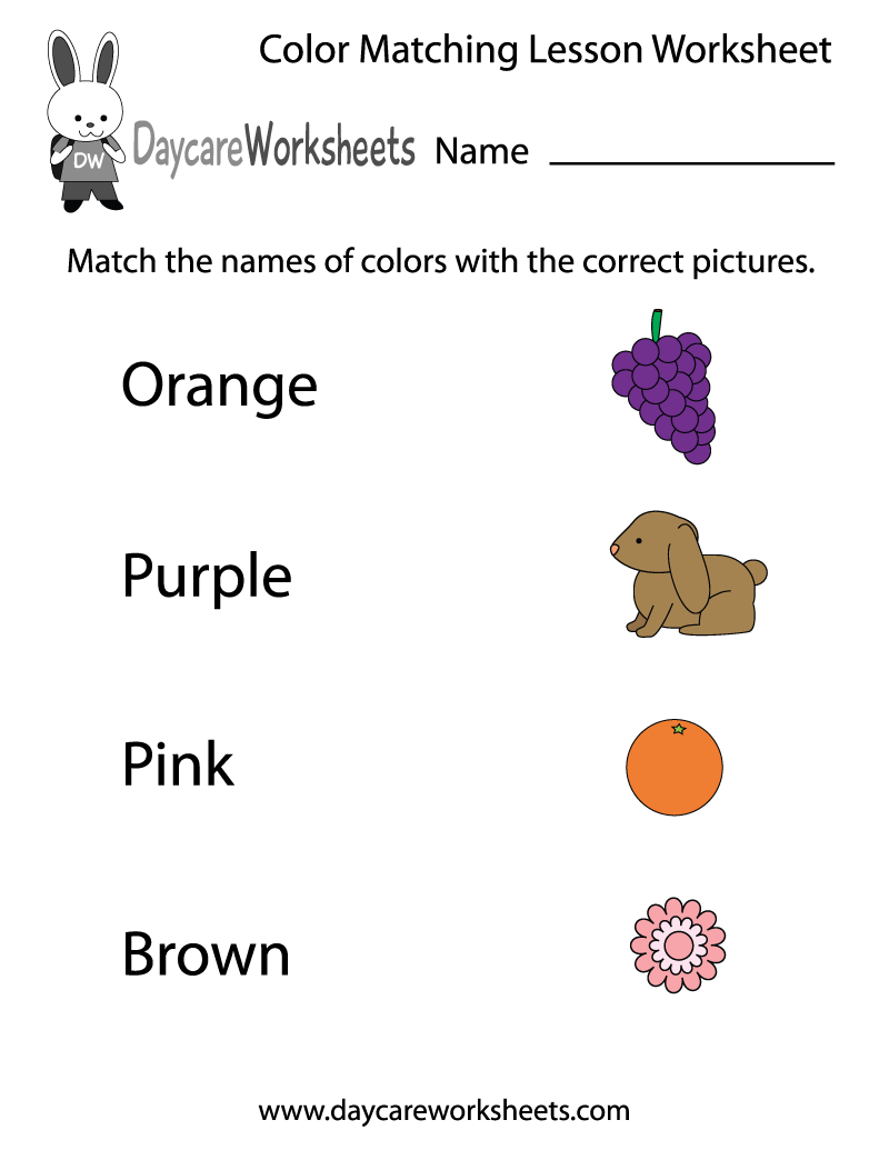 Worksheet ~ Worksheet Color Matching Lesson Printable Colors