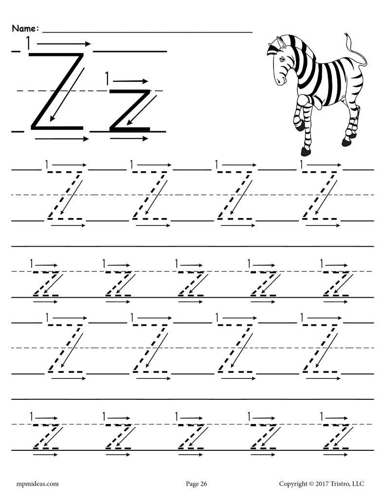 Worksheet ~ Worksheet Printable Letter Z Tracing With Number
